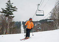 The combination of natural snow and man-made snow to Gunstock's trails has skiers taking in great early season conditions as they head into the holiday vacation week following Christmas.  (Karen Bobotas/for the Laconia Daily Sun)