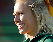 A North Dakota State Bison cheerleader smiles on the sideline during the FCS title game against Sam Houston State at FC Dallas Stadium in Frisco, Texas, on January 5, 2013.  (Stan Olszewski/The Dallas Morning News)