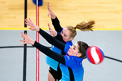 Nynke Hofstede of Zwolle, Daantje Vennik of Zwolle in action during the first league match between Djopzz Regio Zwolle Volleybal - Laudame Financials VCN on February 27, 2021 in Zwolle.