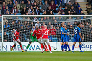 Charlton Athletic midfielder Joe Aribo (17) (middle) scores a goal (0-1) and celebrates during the EFL Sky Bet League 1 match between Gillingham and Charlton Athletic at the MEMS Priestfield Stadium, Gillingham, England on 27 April 2019.