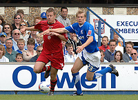 Photo: Ashley Pickering.<br /> Ipswich Town v Cardiff City. Coca Cola Championship. 06/05/2007.<br /> Paul Parry of Cardiff (L) takes on Dan Harding of Ipswich