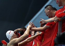 JAKARTA, Aug. 19, 2018  Sun Yang (1st L) of China celebrates after winning the gold medal of the Men's 200m Freestyle in the 18th Asian Games in Jakarta, Indonesia, Aug. 19, 2018. (Credit Image: © Fei Maohua/Xinhua via ZUMA Wire)