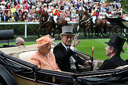 File photo dated 20/06/15 of Queen Elizabeth II and the Duke of Edinburgh arriving on day five of the 2015 Royal Ascot Meeting at Ascot Racecourse in Berkshire. Prince Philip's final public engagement takes place on Wednesday, before he retires at the age of 96.