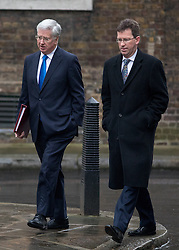 © Licensed to London News Pictures. 31/01/2017. London, UK. Defence Secretary Michael Fallon and Attorney General Jeremy Wright arriving at Downing Street for a cabinet meeting this morning. Photo credit : Tom Nicholson/LNP
