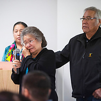 """Bessie White and Tom White, the parents of Tyrannus """"Gino"""" White speak Friday, Nov. 22 at the Missing & Murdered Diné Relatives Forum #3 in Gallup. Their son Tyrannus """"Gino"""" White and his girlfriend Gina Martinez went missing March 9, 2019 and were last seen in Gallup."""