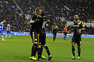 Chelsea's Juan Mata © celebrates with Fernando Torres after he scores the opening goal. Barclays Premier league, Reading v Chelsea at the Madejski Stadium in Reading on Wednesday 30th Jan 2013. pic by Andrew Orchard, Andrew Orchard sports photography,