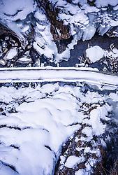 THEMENBILD - Eiszapfen hängen über der im Winter gesperrten Sigmund Thun Klamm, aufgenommen am 06. Februar 2019 in Kaprun, Oesterreich // icicles hang over the Sigmund Thun gorge, which is closed in winter. in Kaprun, Austria on 2019/02/06. EXPA Pictures © 2019, PhotoCredit: EXPA/ JFK