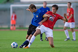 Tomas Rimas of Trans Narva vs Luka Prasnikar of Rudar at 1st Round of Europe League football match between NK Rudar Velenje (Slovenia) and Trans Narva (Estonia), on July 9 2009, in Velenje, Slovenia. Rudar won 3:1 and qualified to 2nd Round. (Photo by Vid Ponikvar / Sportida)