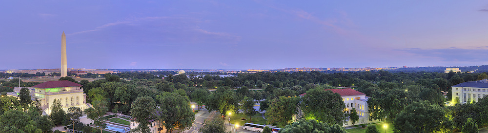 Panoramic View of Washington, DC.  Includes The Capitol, Washington Monument, Smithsonian Mall, Organization of American States, Jefferson Memorial, Reagan National Airport, and Lincoln Memorial..Print Sizes (inches): 15x4; 24x6.5; 36x10; 48x13; 60x16; 72x19.5