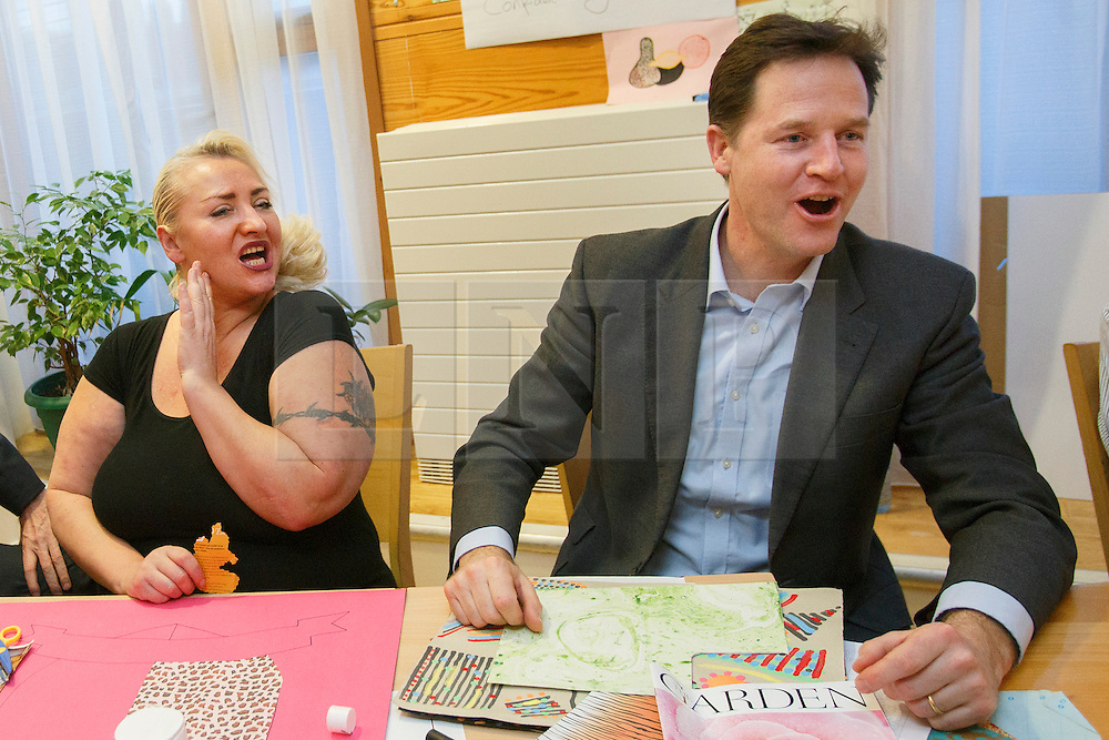 ***EMBARGO 00:01 MONDAY 20th JANUARY 2014***© licensed to London News Pictures. London, UK 16/01/2014. The Deputy Prime Minister Nick Clegg chatting with Caroline Day, a mental health patient, whilst meeting patients of Princess Royal University Hospital's mental health unit in Kent on Thursday 16 January 2014, ahead of a major announcement and conference about the future of mental health services to be made on Monday, 20 January 2014. Photo credit: Tolga Akmen/LNP