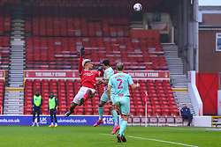 Lyle Taylor of Nottingham Forest heads wide of the goal - Mandatory by-line: Nick Browning/JMP - 29/11/2020 - FOOTBALL - The City Ground - Nottingham, England - Nottingham Forest v Swansea City - Sky Bet Championship