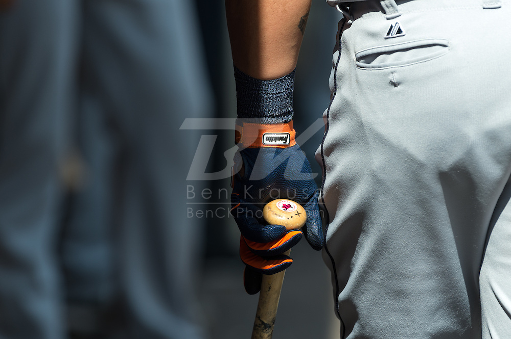 A close up view of Detroit Tigers Miguel Cabrera's (24) batting glove during a game against the Minnesota Twins on August 15, 2012 at Target Field in Minneapolis, Minnesota.  The Tigers defeated the Twins 5 to 1.  Photo: Ben Krause