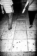 September 2015. Thessaloniki. A couple on the streets at night.