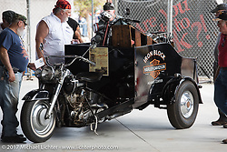 Eric Dunk's Gouldcar 3-Wheel delivery bike at the AMCA Sunshine Chapter antique bike show at Destination Daytona during Biketoberfest. Ormond Beach, FL, USA. Thursday October 19, 2017. Photography ©2017 Michael Lichter.