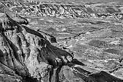 Black and white landscape of the White Cliffs, Tsagaan Suvarga in Mongolia's Gobi Desert, Gobi Desert, Mongolia