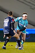 Warriors fly-half Duncan Weir looks to pass under pressure from Sale Sharks fly-half AJ McGinty  during the Gallagher Premiership match Sale Sharks -V- Worcester Warriors at The AJ Bell Stadium, Greater Manchester,England United Kingdom, Friday, January 08, 2021. (Steve Flynn/Image of Sport)