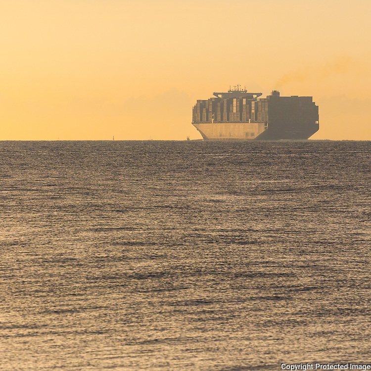 Container Ship in the Solent from Gilkicker Point, Hampshire.