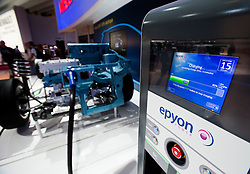 Detail of plug-in electric charging station for Nissan vehicle at Paris Motor Show 2010