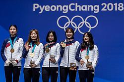 21-02-2018 KOR: Olympic Games day 12, PyeongChang<br /> Medal ceremony shorttrack relay / Bronze medal Netherlands, Gold medal for Korea