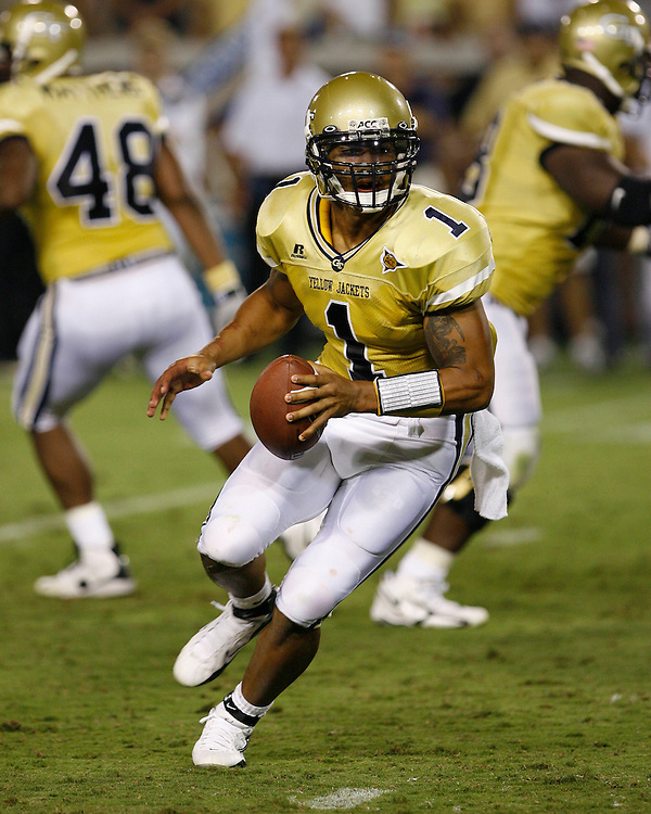 Georgia Tech QB Reggie Ball rushed for 55 yards during the game against Notre Dame at Grant Field in Bobby Dodd Stadium in Atlanta, GA on September 2, 2006.  The Fighting Irish beat the Yellow Jackets 14-10.