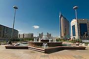 Modern office buildings near Bayterek Tower, Astana, Kazakhstan
