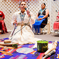 103112       Cable Hoover<br /> <br /> Nicole James begins her presentation while the other contestants wait for their turns to show traditional talents during the Miss Native UNM-Gallup Pageant at UNM-G Wednesday.