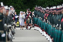 © Licensed to London News Pictures. 01/07/2016.<br /> <br /> HM The Queen attends the Ceremony Of The Keys, Holyrood Palace, Edinburgh on 1st July 2016, the day before opening the State Opening of the Scottish Parliament which occurs every five years.   <br /> <br /> The guard was found by soldiers from A Company, 2nd Battalion The Royal Regiment of Scotland (RROS) and the  Pipes and Drums of 3 Scots, The Band of The RROS.<br /> <br /> Photo credit should read LNP.