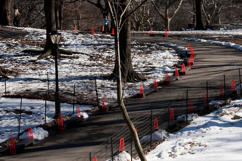 Central Park. New York, New York. United States..February 2nd 2005..Before the installation of the project The Gates by Christo and Jeanne Claude..7503 gates, 16,4 feet high, on 22 miles in Central park, $ 21 millions, 750 employees.