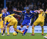 Photo: Dave Linney.<br />Cardiff City v Burnley. Coca Cola Championship. 11/11/2006.Cardiff's  Michael Choppra (C) trys to find away through the Burnley defence.