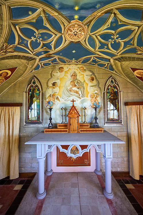 The Italian Chapel constructed of 2 nissen huts in 1942 at Italian prisoner of war Camp 60 next to Sapa Flow. The Italian inmates under the direction of their priests Father Giacobazziand Domenico Chiocchetti decorated the interior with Trompe-l'œil stonework and murals to resemble the interior of a Roman Catholic painted church. Lamb Holm, Orkney, Scotland