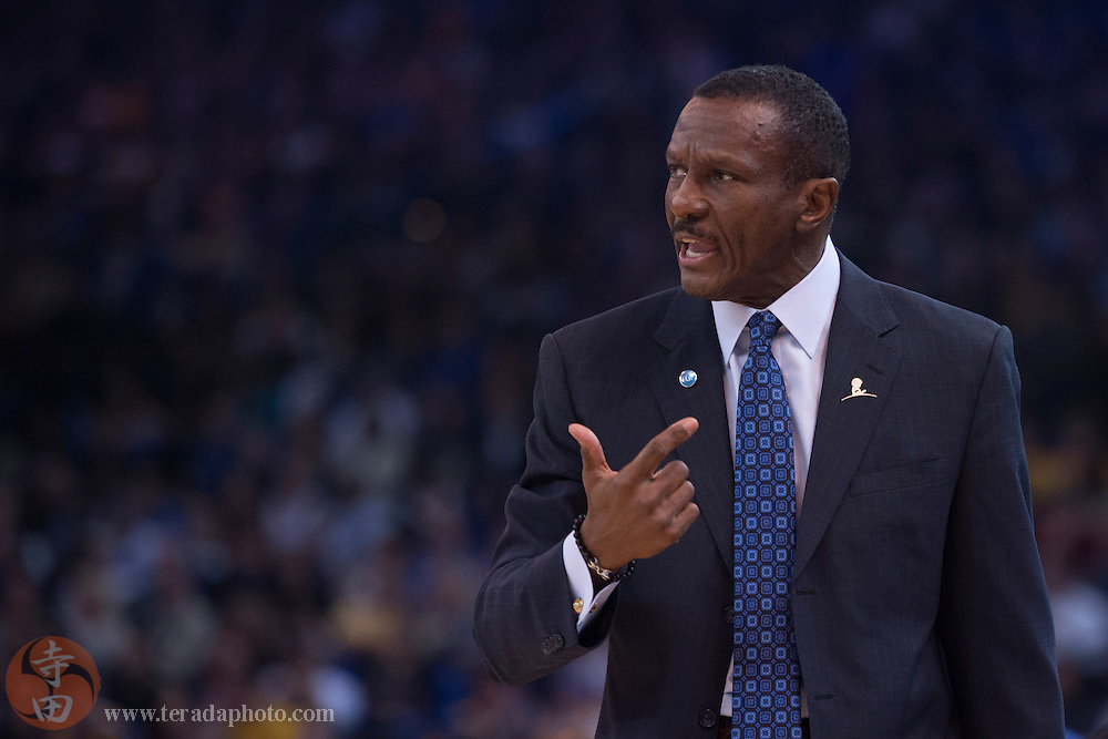 November 17, 2015; Oakland, CA, USA; Toronto Raptors head coach Dwane Casey instructs during the first quarter against the Golden State Warriors at Oracle Arena. The Warriors defeated the Raptors 115-110.