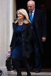 London, March 10th 2015. Ministers arrive at the weekly cabinet meeting at 10 Downing Street. PICTURED: Esther McVey, Minister of State for Employment leaves the cabinet meeting with Iain Duncan-Smith, Secretary of State for Work and Pensions