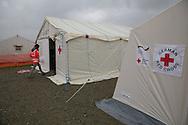 Nea Kavala, Greece - 23.03.2016  <br /> <br /> An international team of the Red Cross assumes the camp on his work. Is coordinating the work of the German and the Finnish Red Cross.3,515 refugees are currently living in the official Greek refugee camp in Nea Kavala. The Greek military opened the 600 tents big camp about 1 month ago. The conditions in the camp are meager : In case of rain the area is partially submerged also the tents are not heated .<br /> <br /> Ein internationales Team des Roten Kreuzes nimmt im Camp seine Arbeit auf. Koordiniert wird die Arbeit vom deutschen und dem finnischen Roten Kreuz. 3.515 Fluechtlinge leben derzeit in dem offiziellen griechischen Fluechtlingscamp in Nea Kavala. Das griechische Militaer eröffnete das aus 600 Zelten bestehende Lager etwa 1 Monat vorher. Die Bedingungen im Lager sind dürftig: Bei Regen steht das Gelaende teilweise unter Wasser außerdem sind die Zelte nicht geheizt.