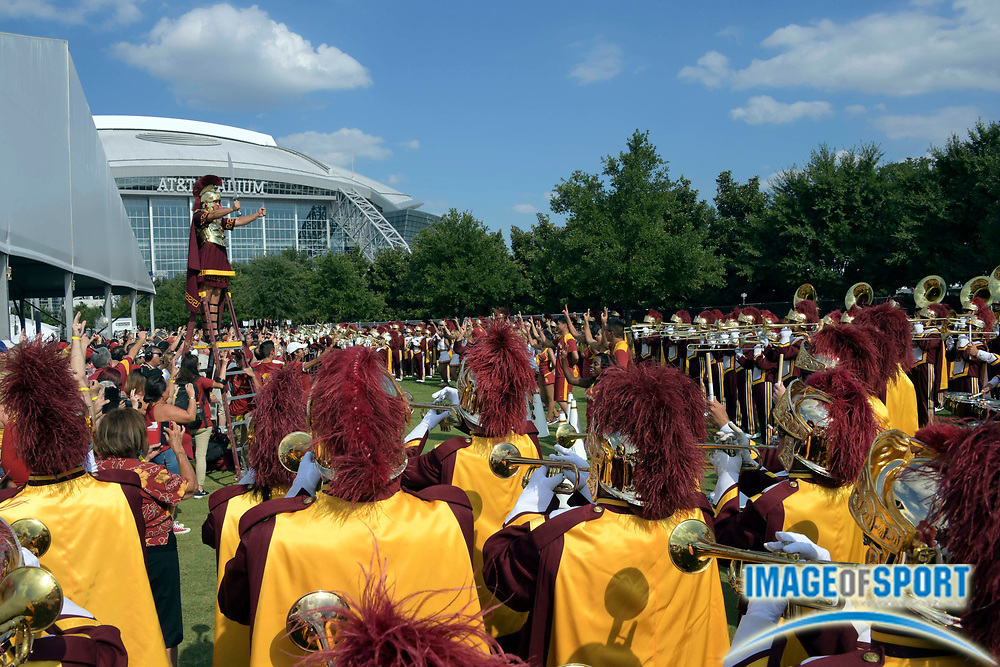 Sep 3, 2016; Arlington, TX, USA; USC Trojans band plays before the game against the Alabama Crimson Tide at AT&T Stadium.