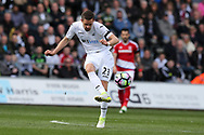 Gylfi Sigurdsson of Swansea city in action. Premier league match, Swansea city v Middlesbrough at the Liberty Stadium in Swansea, South Wales on Sunday 2nd April 2017.<br /> pic by Andrew Orchard, Andrew Orchard sports photography.