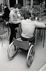 Disabled pupil at Colonel Frank Seely secondary school, Nottinghamshire UK 1987
