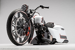 """""""½ Ass'd, a white bagger built from a 2015 Harley-Davidson road King by The Bike Exchange, BX Custom Design, and Fox Custom Paint in Gastonia, NC. Photographed by Michael Lichter during the Easyriders Bike Show in Columbus, OH on February 21, 2016. ©2016 Michael Lichter."""
