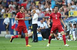 Czech Republic's Michael Luftner (right) celebrates scoring his side's third goal of the game