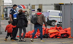 © Licensed to London News Pictures. 26/09/2021. Dover, UK.  Migrants arrive at Dover Harbour in Kent. Migrants are continuing to attempt the crossing from France as the weather improves this week. Photo credit: Stuart Brock/LNP