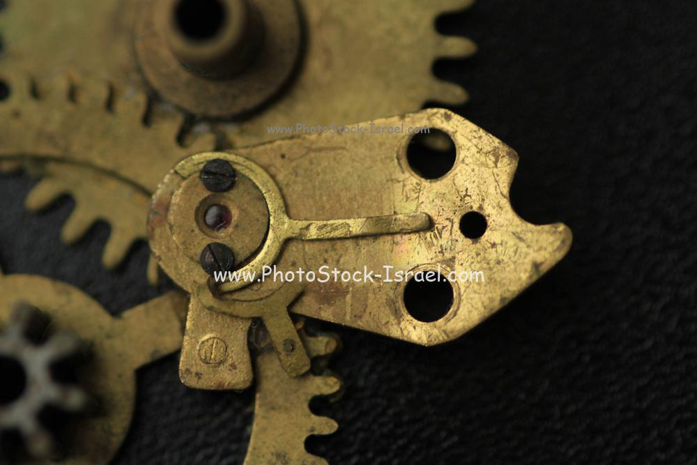 Closeup of the cogwheels and Clockwork mechanism