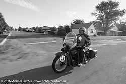 Clyde Crouch riding his 1929 Henderson KJ during Stage 9 (249 miles) of the Motorcycle Cannonball Cross-Country Endurance Run, which on this day ran from Burlington to Golden, CO., USA. Sunday, September 14, 2014.  Photography ©2014 Michael Lichter.