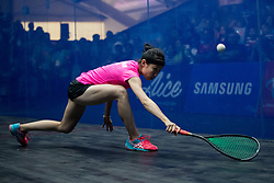 JAKARTA, Sept. 1, 2018  Ho Tze Lok of China's Hong Kong competes against Sunayna Kuruvilla of India during the Squash Women's Team Gold Medal Match at the 18th Asian Games in Jakarta, Indonesia, Sept. 1, 2018. (Credit Image: © Zhu Wei/Xinhua via ZUMA Wire)