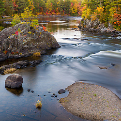 Whetstone Falls on the East Branch of the Penobscot River in Maine's Northern Forest. Fall.