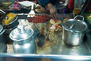 Street food stall selling tacos, Tulum, Yucatan peninsula, Quintana Roo, Mexico.