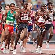 TOKYO, JAPAN August 3:   Nicholas Kipkorir Kimeli of Kenya, Daniel Simiu Ebenyo of Kenya and Mohammed Ahmed of Canada leading during the latter part of the race in the Men's 5000m round one heat one race at the Olympic Stadium during the Tokyo 2020 Summer Olympic Games on August 3rd, 2021 in Tokyo, Japan. (Photo by Tim Clayton/Corbis via Getty Images)