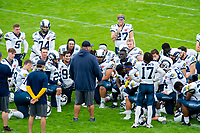 KELOWNA, BC - SEPTEMBER 8: The Langley Rams kneel on the field at half time against the Okanagan Sun at the Apple Bowl on September 8, 2019 in Kelowna, Canada. (Photo by Marissa Baecker/Shoot the Breeze)