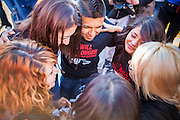 20 MARCH 2012 - PHOENIX, AZ: Students pray as police approach them during a student protest in support of the DREAM Act on 75th Ave in front of Trevor G. Browne High School Tuesday.  PHOTO BY JACK KURTZ