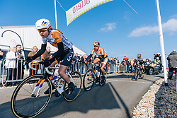 Anna van der Breggen is the first over the top of VAMberg, closely followed by Chantal Blaak and Trixi Worrack - Ronde van Drenthe 2016, a 138km road race starting and finishing in Hoogeveen, on March 12, 2016 in Drenthe, Netherlands.