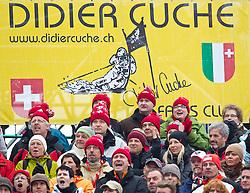 18.02.2011, Kandahar, Garmisch Partenkirchen, GER, FIS Alpin Ski WM 2011, GAP, Herren, Riesenslalom, im Bild Fanclub von Didier Cuche (SUI) // Didier Cuche (SUI)during men's Giant Slalom Fis Alpine Ski World Championships in Garmisch Partenkirchen, Germany on 18/2/2011. EXPA Pictures © 2011, PhotoCredit: EXPA/ J. Groder