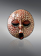 African tribal ceremonial Lion mask, wooden traditional tribe mask.